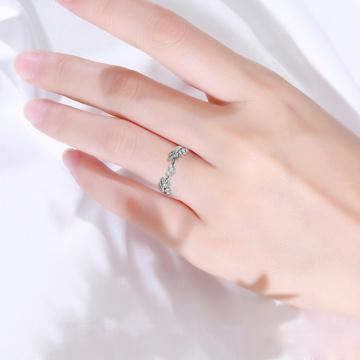 Fresh Sweet Leaf Adjustable Ring Female Light Luxury Olive Branch Finger Ring -MX8