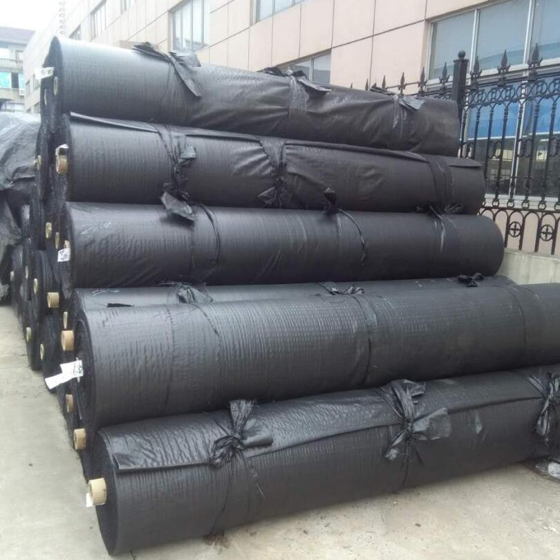 black woven geotextile on roll