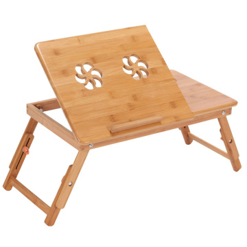 Bamboo Laptop Table Adjustable Computer Desk For Sofa Bed Folding Portable Laptop Table With Cooling Fan Notebook Stand Table