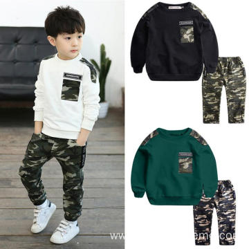 Camouflage Toddler Baby Kids Clothing Sets Patchwork Tops Pants Clothes Outfits Set 2 Pcs Casual Clothes For Boys 2 To 5 Years
