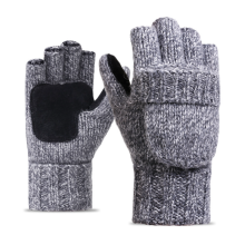 Leather Palm Half-Finger Clamshell Acrylic Knitting Gloves