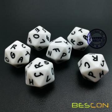 Bescon Alphabet Dice 20 Faces A-T Uppercase, 20 Sides Letter Dice
