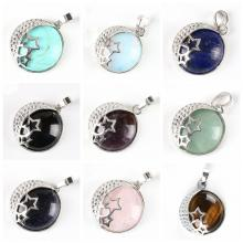 Natural Gemstone Crescent  Moon  Silver Stars Pendant
