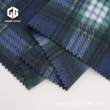 150D Polyester Brushed Fabric Printed With Check Pattern