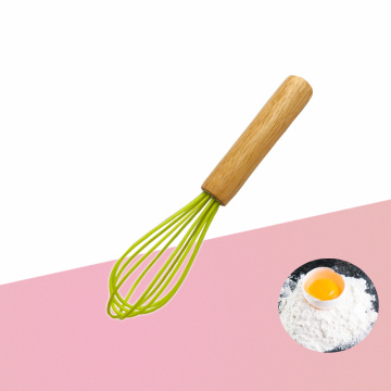 Silicone egg beater with wooden handle
