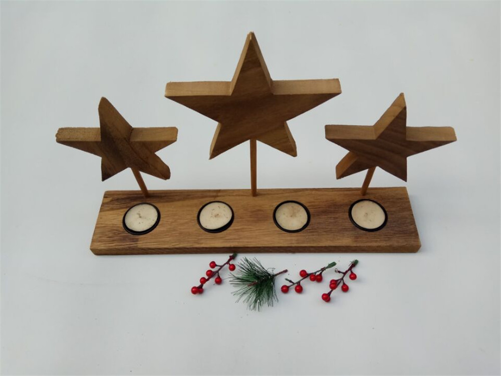 solid wood simple wooden candle holders