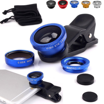 Fish Eye Lens 3-in-1 Wide Angle Macro 180 Camera Kits Mobile Phone Fish Eye Lenses with Clip 0.67 x for iPhone Samsung Xiaomi