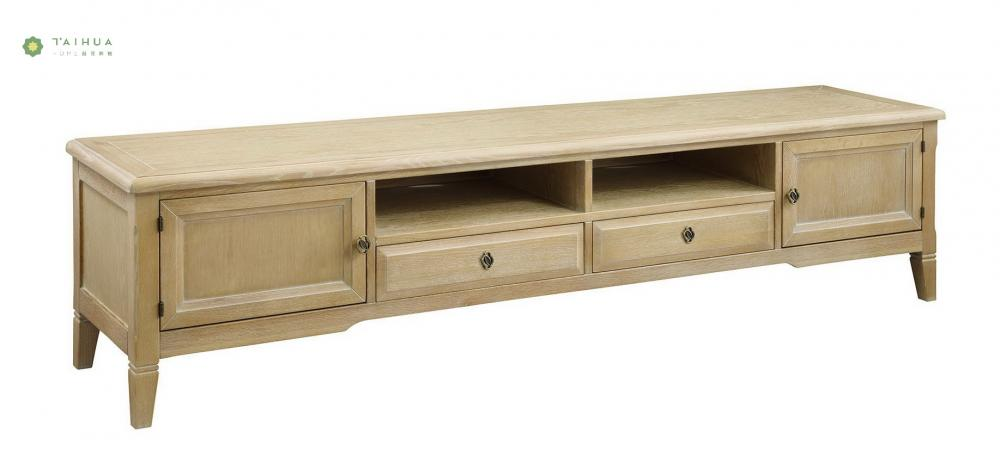 Solid Wood TV Stand Two Cabinet