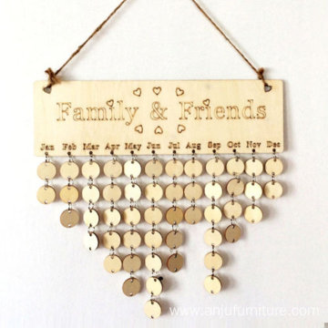 Indoor Home decoration wood craft family birthday calendar