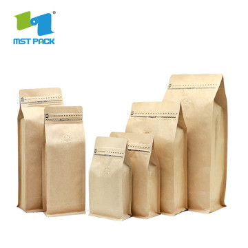 Wholesale Customized Flat Bottom Valve Ziplock Coffee Bag