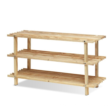 Furinno FNCJ-33003 Pine Solid Wood 3-Tier Shoe Rack, Natural