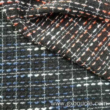 Woolen Boucle checked with color slub yarn fabrics