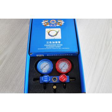 Aluminum 3way manifold gauge with hose