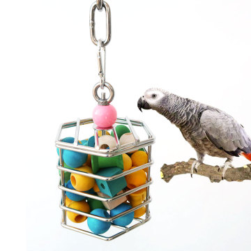 Stainless Steel Parrot Foraging Toy Pet Bird Toy Squirrel Stainless Steel Food Cage Parrot Toy Hanging Chew Toy With Block Insid