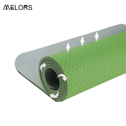 Green and grey Two layer TPE Yoga Pilate