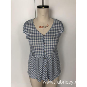 V-neck checked patchwork blouse