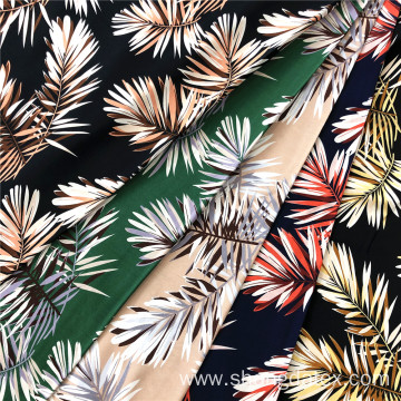 High Quality Rayon 45 Printed With Colorful Leaves