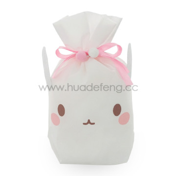 White Non-woven Bunny Party Drawstring Gift Packing Bag