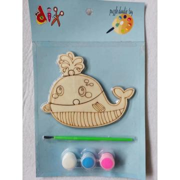 paint your own wooden whale puzzle set