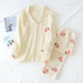 Fresh Peach sweet sleepwear women pajamas sets spring Japanese 100% cotton long-sleeved nightwear women pyjamas homewear