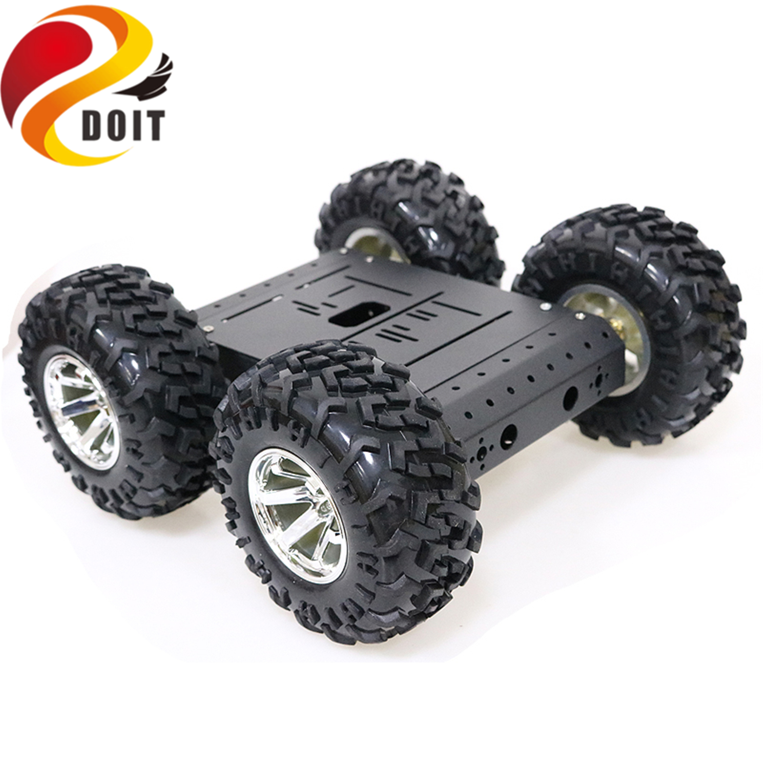 SZDOIT 4WD Metal Smart Robot Car Chassis Kit 130mm Rubber Wheel High Torque DC Motor Heavy Load DIY For Arduino Education DIY
