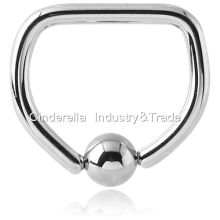 Fashion Titanium Piercing Jewelry Ball Closure D-ring