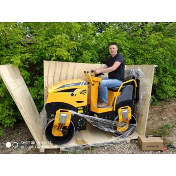 1000kg  Honda Gasoline Power Double Wheel Tandem Hydraulic Vibratory Road Roller