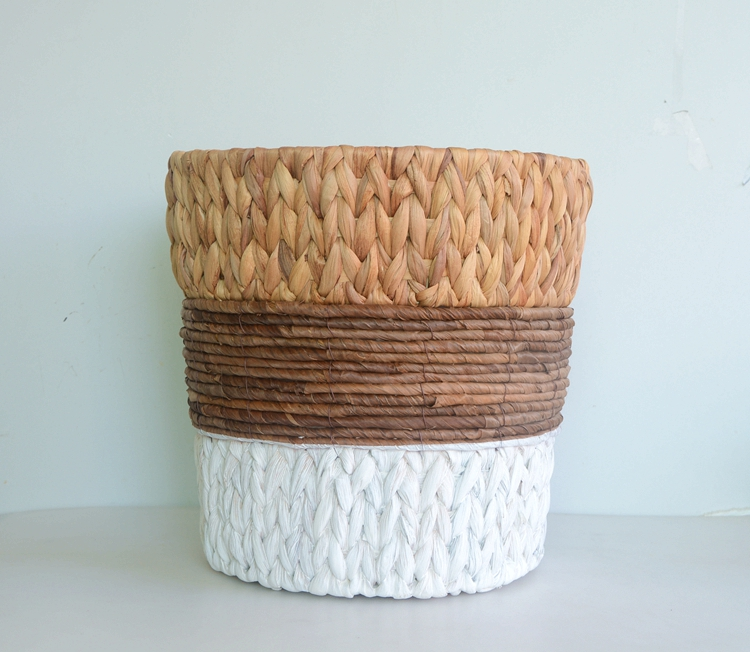 Round water hyacinth and maize rope storage basket-1