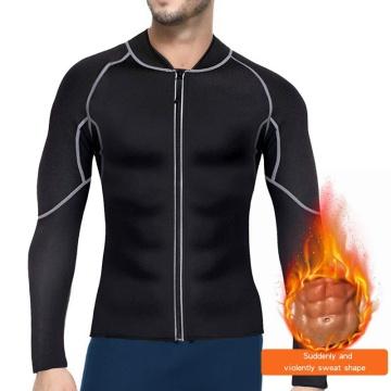 Puimentiua Men's Slim Body Shaper Neoprene Sweat Vest Sauna Suit Weight Loss Fitness Long Sleeve Zipper Workout Slimming Shirt