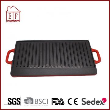 Red Enamel Cast Iron Griddle and Pan