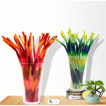 Custom Mix Color Reusable Silicone Drinking Straw