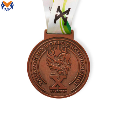 Bronze champion medal reward with ribbon