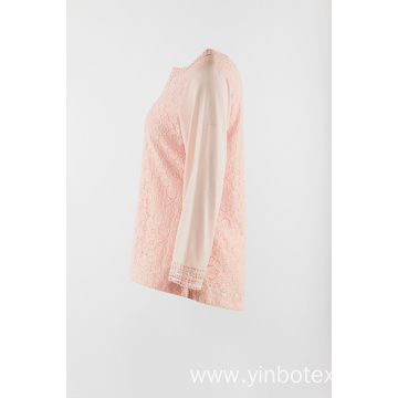 Long sleeve with lace front in color pink