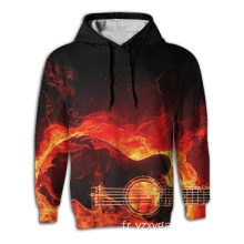 Sweat à capuche imprimé 3D Guitar On Fire pour homme