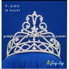 4 Inch wholesale pearl rhinestone pageant crowns