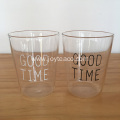 """GOOD TIME"" Design Clear Glass Tea Cup"