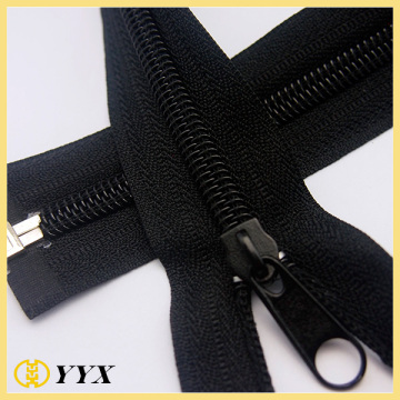 Black nylon zipper with non lock slider