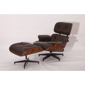 Rosewood Eames leather lounge chair and ottoman