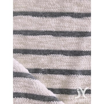 White Slub Stripe French Terry Knit