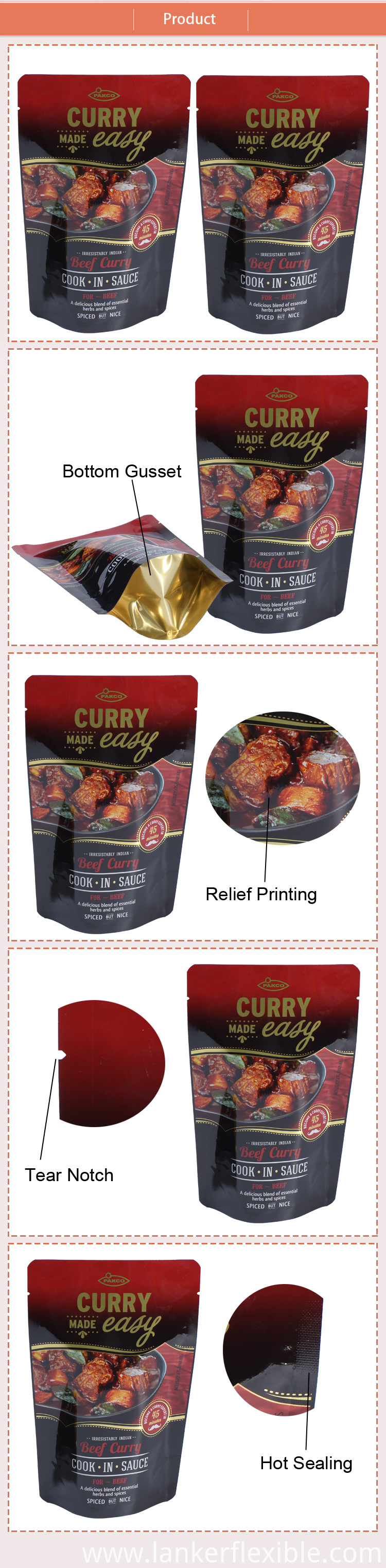 Retort Bag Food Custom Stand Up Pouches