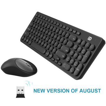 Quiet Wireless Keyboard Mouse Combo 2.4GHz Cordless Cute Round Key Set Smart Power-Saving Whisper For Laptop, Computer And Mac