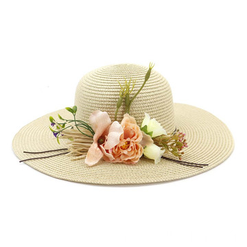 Classy flower decoration store retro straw hat