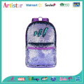 purple, green, rainbow color sequins backpack