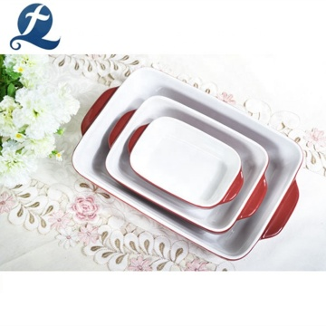 Custom Logo Dishwasher Oven Safe Ceramic Cake Bread Baking Tray Set