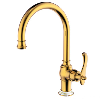 Brass single hole kitchen mixer faucet polished gold