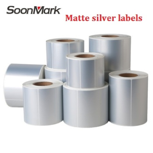 OEM self adhesive plain silver PET sticker label