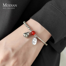 Modian Crystal Balls Cute Cat Lettering Geomatric Oval Light Beads 925 Sterling Silver Bracelet Bangle for Women Fine Jewelry