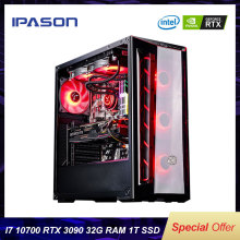 IPASON I7 10700K/RTX3090 PUBG Gaming Desktop Computer Host 32G RAM/1T SSD NVMe High Performance Machine Water-Cooled Computer