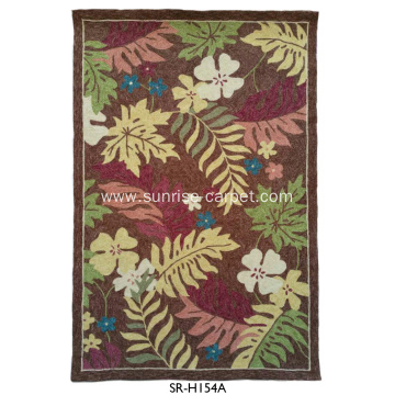 Hand Hooked Rug Carpet With Flower Design