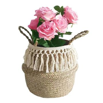 Plant Pot Flower Vase Natural Seaweed Storage Box Woven Handheld Toy Storage Basket Foldable Handmade Simple Decoration Organize